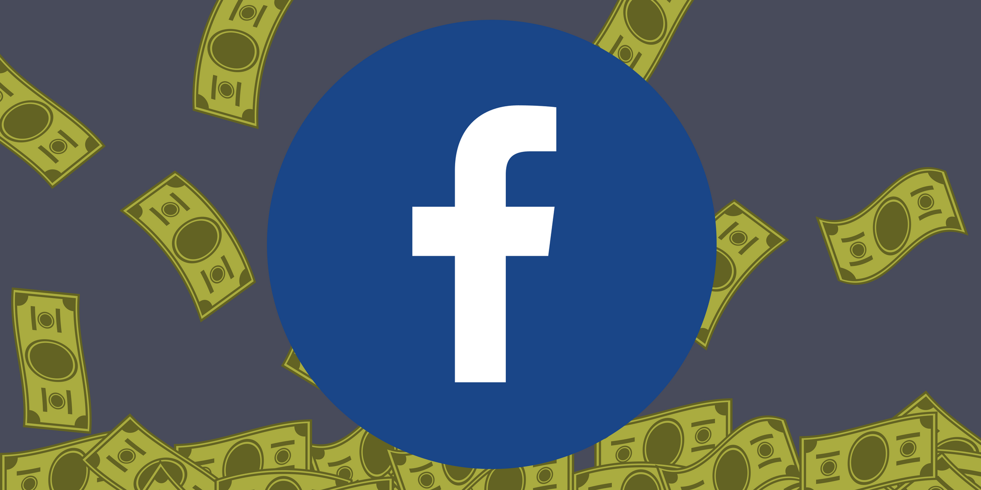 Facebook logo with dollar bills