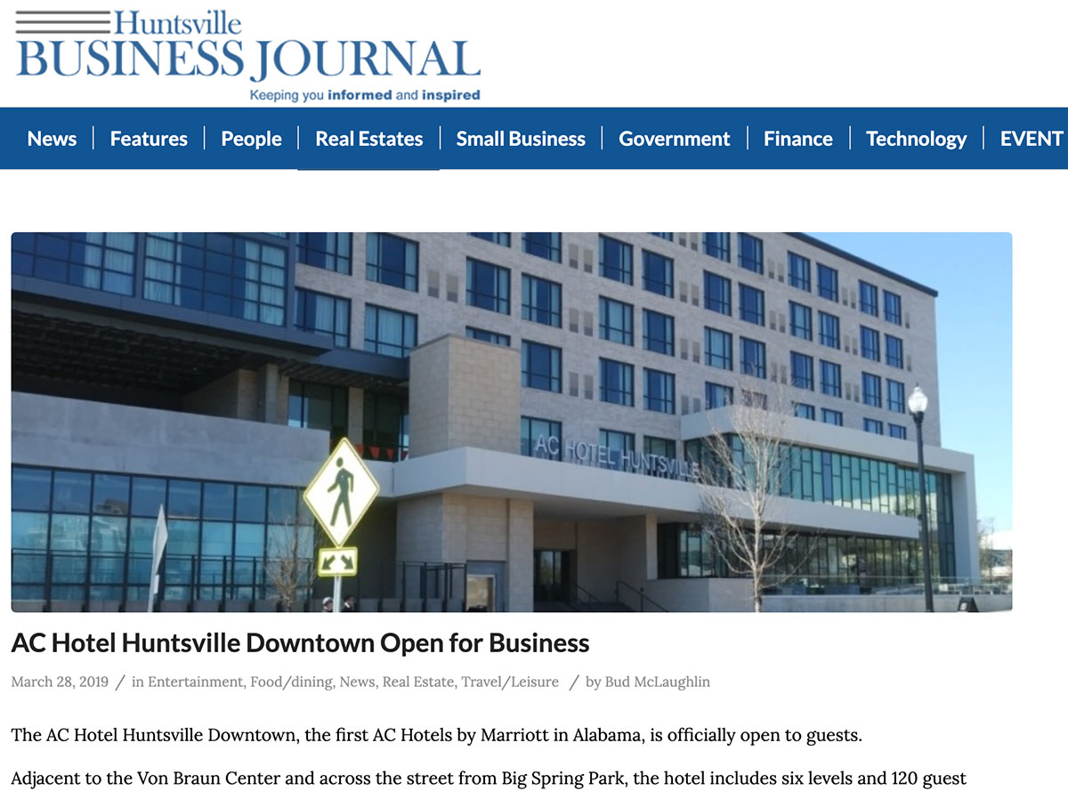 Huntsville Business Journal article about AC Hotel Huntsville