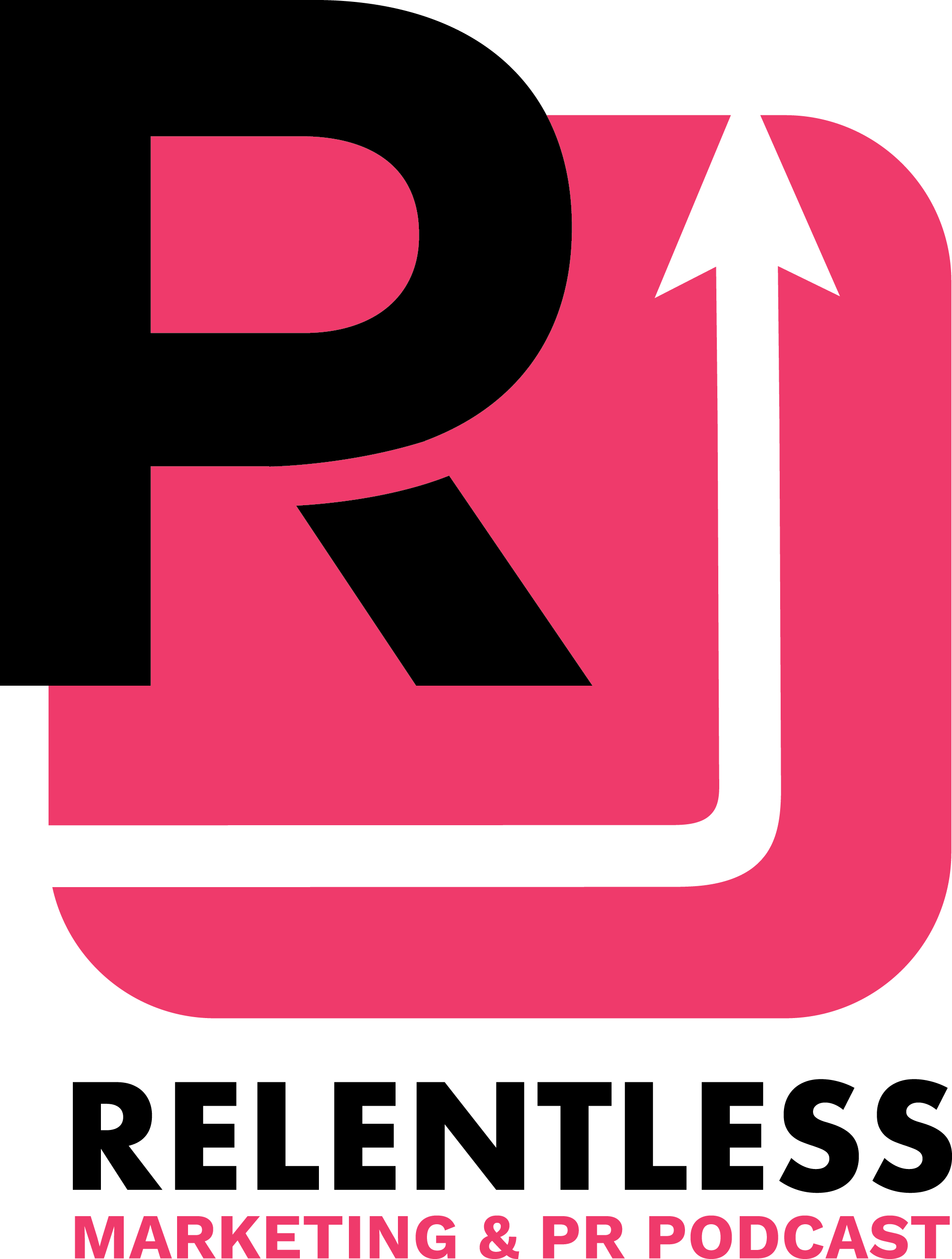 Pink and black logo for Relentless Marketing Podcast